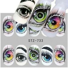 Nail Art Water Decals Stickers Transfers Halloween Freaky Green Eyes Eye STZ733