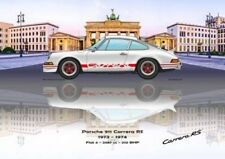 Print on Canvas Porsche 911 Carrera RS 1973 White /  Red, Brandenb 180 x 120