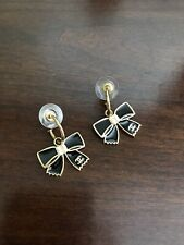 CHANEL Enamel Earrings Black Bow And Pearl With Gold