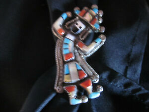Southwest Style Zuni Silver Handmade Rainbow Man Ring Turquoise Coral Shell Jet