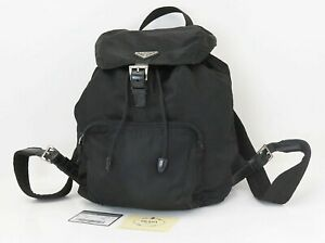 Authentic PRADA Black Nylon and Leather Backpack Bag Purse #40382