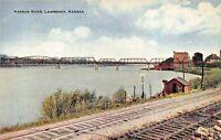 LAWRENCE KS~KANSAS RIVER ACROSS RAILROAD TRACKS -STEEL BRIDGES 1910s POSTCARD