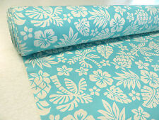 Blue/Cream HAWAIIAN TROPICAL COTTON fabric tiki hibiscus pineapple palm tree 1m