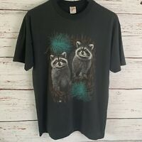 Vtg Racoons in Woods Nature Men Sz L TShirt 1990 Jerzees Single Stitch Hipster