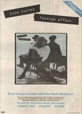 23/9/89Pgn12 Advert: Tina Turner's New/best Album Yet 'foreign Affair' 15x11