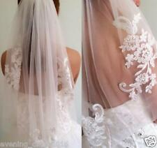 New Lace Short Wedding Veil 1T Ivory / White Tulle Elbow Bridal Veil With Comb
