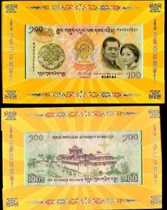 Bhutan 100 Ngultrum 2011 Comm. Wedding P 35 Unc With Folder