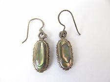 Vintage Used Sterling Silver Mother of Pearl Ladies .925 Jewelry Earrings Old