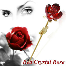 Crystal Red Rose Gold Long Stem Rosebud For Wedding Anniversary New In Gift Box