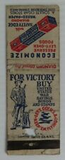 VINTAGE FOR VICTORY BUY US WAR SAVINGS BONDS MATCHBOOK COVER         (INV23980)