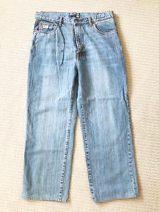 Point Zero Jeans Acid Wash Straight Leg Size 36 Pockets 100% Cotton Work