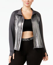Material Girl Active Plus Size Metallic Jacket Deep Charcoal 1X