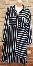 KOKO BLACK WHITE GREY BUTTONED LONG SLEEVE BAGGY T SHIRT SLIP TUNIC DRESS 18