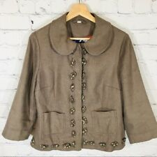 BODEN Linen Bld Blazer Snap Front Jacket Rabbit Brown Women's 8 EUC