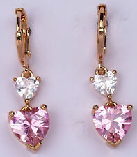 18K Yellow Gold Filled- 8mm Heart Pink Topaz Zircon Hoop Party Gemstone Earrings