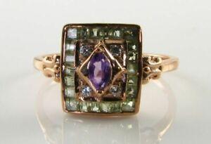 SUFFRAGETTE 9K 9CT ROSE GOLD AMETHYST PERIDOT DIAMOND ART DECO INS RING SIZE O