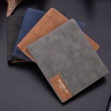 Men's Slim Thin Casual Leather Wallet Money Photo ID Credit Debit Card Holder UK