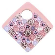 GlassOfVenice Murano Glass Curved Square Millefiori Pendant - Pink