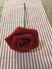 "12"" Long Stem Red Burlap Rose Flower Wedding Table Centerpiece Vase Rustic Decor"