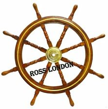 Nautical SHIP WHEEL 36 Inch Brass Wooden Vintage Ship Steering Wall Boat Decor