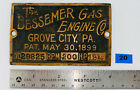 12 1/2 HP BESSEMER Brass Tag Name Plate Oilfield Gas Engine Hit Miss