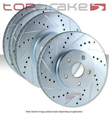 FRONT + REAR SET Performance Cross Drilled Slotted Brake Disc Rotors TBS14345