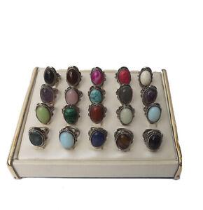 Wholesale Peruvian Semiprecious Stone Alpaca Rings. Lots of 14, 40 and 80 rings