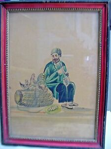 PAINTING VINTAGE WATER COLOR HAND PAINTING PEDDLER SELLING PIGEONS & CHICKENS