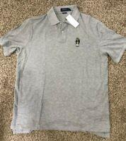 Men's SZ L  Polo Ralph Lauren Classic  Fit Football fan Bear Gray Polo Shirt