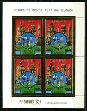Cambodge Cambodia Munich 1974 Football FIFA  gold foil or Michel Bloc 103 A 80e