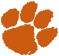 Counted Cross Stitch Pattern, Clemson Tigers Logo - Free US Shipping