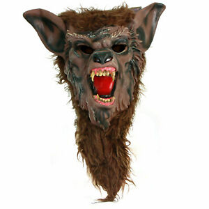 Adult Mens Werewolf Wolf Halloween Classics Costume Overhead Mask With Hair