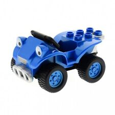 1 x Lego Duplo Construction Vehicle Car Scrambler Metallic Blue Wheels Black Rim