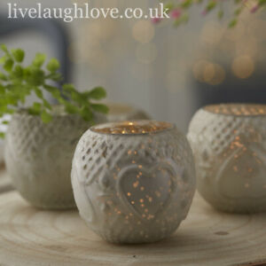 Lustre Tea Light Holder - Silver Pearl / SET OF 3