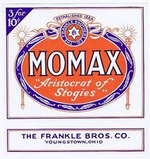 Momax, cigar box label, Younstown, Ohio