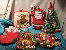 Vintage Christmas Holiday Pot Holders Hot Pads Santa Tree Lot Holiday Retro 80's