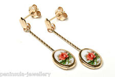 9ct Gold Limoges style long Drop earrings Gift Boxed Made in UK