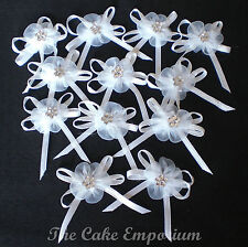 WEDDING ORGANZA DAISY RIBBON BOWS (12) WITH DIAMANTE CENTRE WHITE OR IVORY 40mm