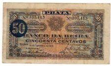 Mozambique DA BEIRA PRATA Billet 50 CENTAVOS 1919 PR4