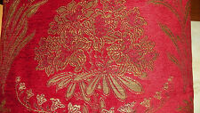 Red Gold Green Flower Print Chenille Upholstery Fabric 1 Yard F772