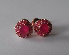 MR 18ct rose gold DEEP PINK RUBY CLUSTER stud earrings gf 1cm round BOXD Plum UK