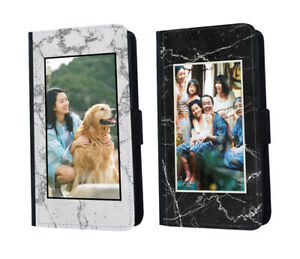 Personalised Photo Leather Phone Case Marble Custom Picture Flip Wallet Cover