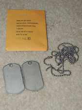 Military Dog Tag NECKLACE, PERSONNEL IDENTIFICATION TAG Chain w/ 2 Dog Tags