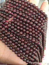 Natural 8mm wine red DIY natural Garnet gemstone loose beads 15""