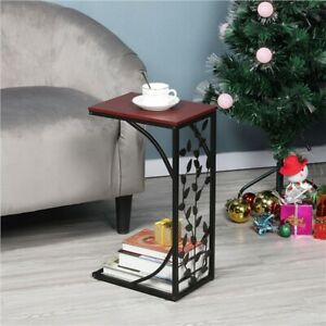 Small Sofa Side Table C Shaped Coffee End Table Living Room/Bedroom/Leaf Pattern