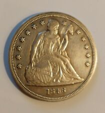 1846 Silver Liberty Seated $1 One Dollar US Coin -  Exceptional Detail