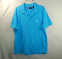 Ralph Lauren Chaps Mens Short Sleeve Blue Golf Dress Shirt Size LARGE L
