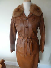 womens vinage 70s leather outfit - size uk 16 good condition