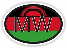 MALAWI MW AFRICAN COUNTRY CODE OVAL FLAG STICKER bumper decal car bike tablet