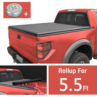 "Lock Roll-Up Soft Black Tonneau Cover For 2004-2018 FORD F-150 5.5' FT 66"" Bed"